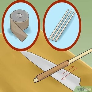 sharpen a serrated knife with emery cloth and dowels