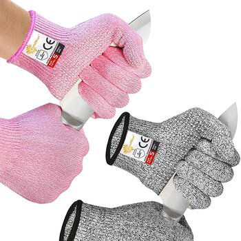 EvridWear 2 Colors 2 Pairs Combo Level 5 Cut Resistant Gloves