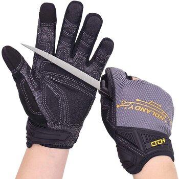 HANDLANDY Mens Work Cut Resistant Mechanics Gloves