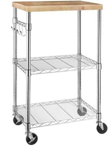 Amazon Basics Microwave Cart Kitchen Rolling Wood/Chrome