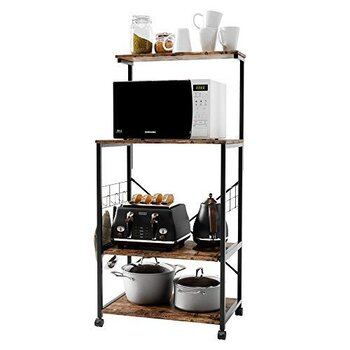Bestier Microwave Stand Cart | With Both Wheels & Adjustable Feet