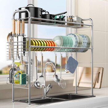 Geanli over the sink dish drying rack