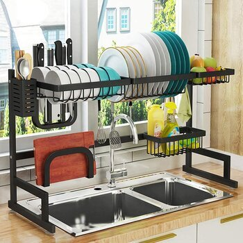 PUSDON Dish Drying Rack Over The Sink