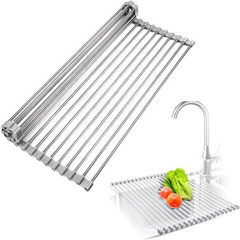 Surpahs Roll-Up Dish Drying Rack Over The Sink