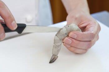 Using a Paring Knife For De-veining Shrimp