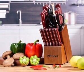 Alltripal Premium 18-Pcs Kitchen Knife Block Set