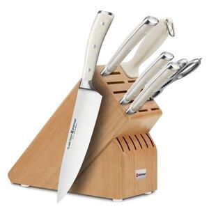 Wusthof Classic Ikon Creme 7-piece Acacia Knife Block Set