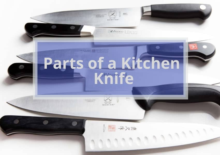 The main parts of a Kitchen Knife: the knife blade,the blade material,the blade edge,the edge grind,the edge type,the point of the blade,the tip of the blade.