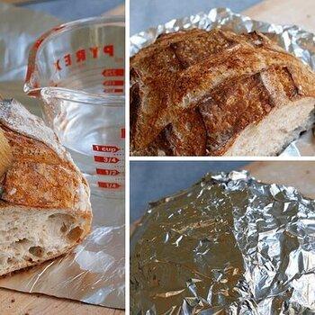 stale bread in aluminum foil